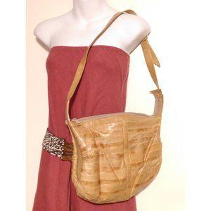 VTG tan eel skin Korea hobo shoulder bag zip top